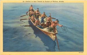 Alaska~Eskimo in Skin Omiak (Boat)~In Pursuit of Walrus~Throwing Harpoon~1940s