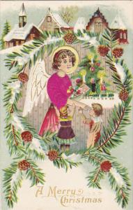 Merry Christmas Village Scene Angel With Young Children 1910