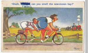Tandem Cycling Comic PPC Oh George, Can You Smell The New Mown Hay?, By Trow