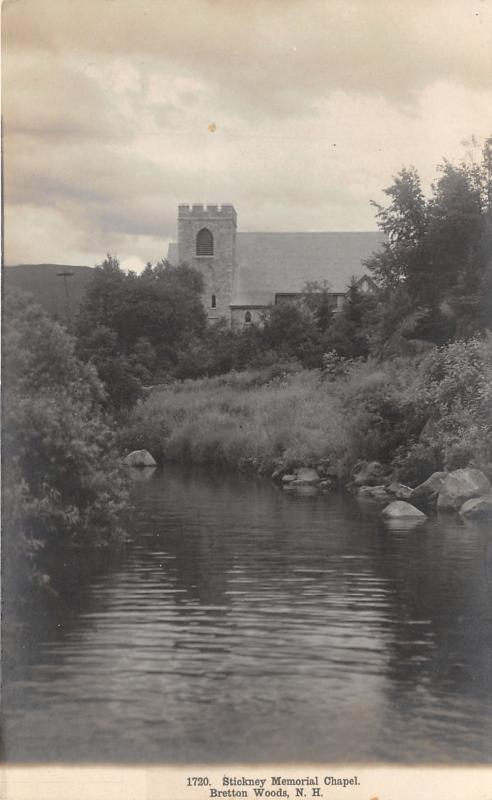 Bretton Woods New Hampshire~Stickney Memorial Chapel View @ River~Vintage RPPC