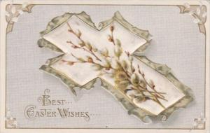 Silk Card Happy Easter With Beautiful Cross & Flowers