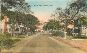 1944 Beach Road Clinton Connecticut Collotype hand Colored postcard 12574