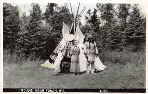 C73/ Tomah Wisconsin Wi Postcard Photo RPPC c40s Indians Tepee Native Americans