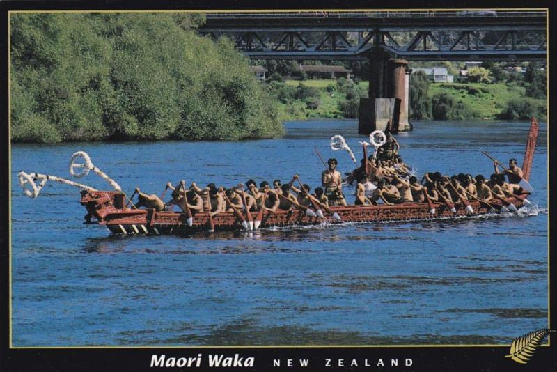 Maori Tribe in Waka Canoe, New Zealand 1950-60´s