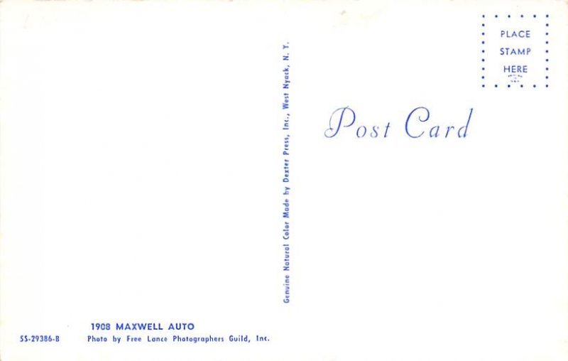 Vinatge Auto Pre 1950 Post Card 1908 Maxwell Auto Unused