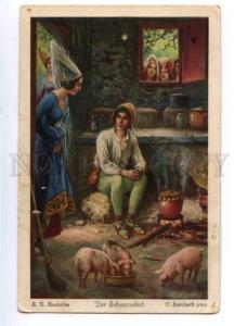 161306 SCHWEINEHIRT Swineherd PIGS by HERRSURTH Vintage PC