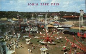 Ionia MI Free Fair Old Amusement Park Rides c1960 Postcard