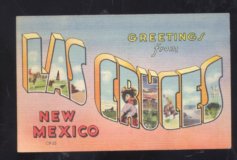 GREETINGS FROM LAS CRUCES NEW MEXICO LARGE LETTER LINEN VINTAGE POSTCARD