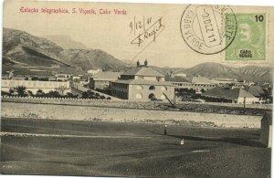 PC CPA CABO VERDE CAPE VERDE S. VICENTE TELEGRAPHICA Vintage Postcard (b26731)