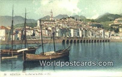 Le Port et la Ville Menton, France, Carte, Unused