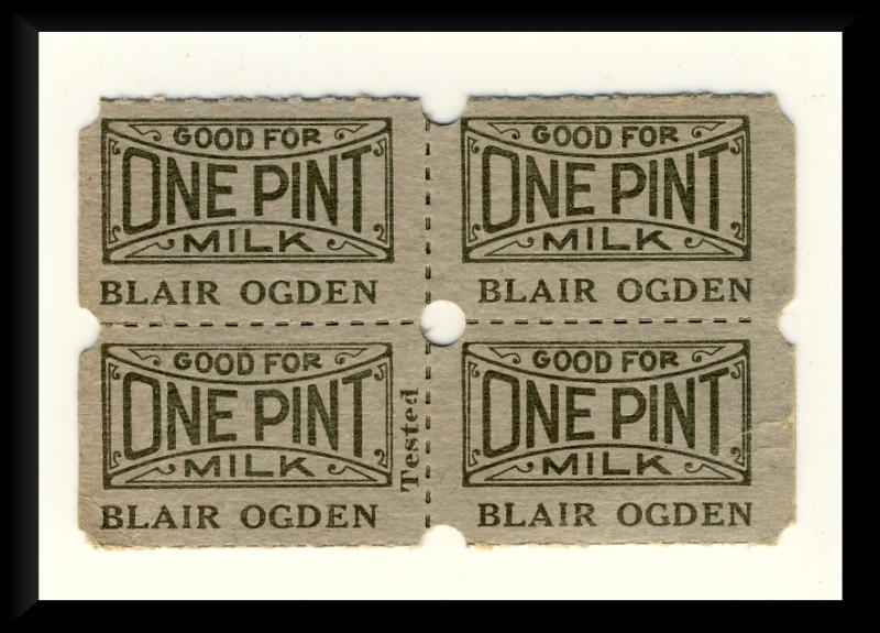 4 Blair Ogden Dairy Milk Tickets,Clearfield, Pennsylvania/PA
