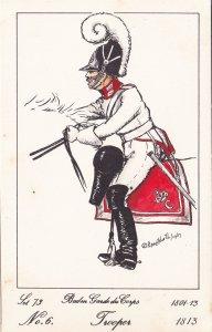 Baden Guard Du Corps French Trooper Soldier Napoleonic War PB Postcard