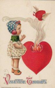 VALENTINE'S DAY ; Girl & Burning heart , John WINSCH , 1914