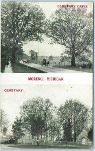 Morenci, Michigan Postcard CEMETERY DRIVE & Cemetery Views  / 1913 Cancel