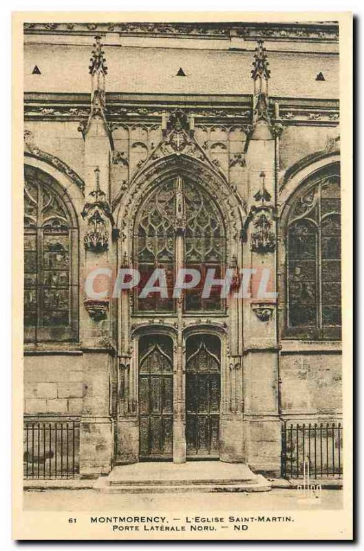 Old Postcard Montmorency The Church Saint Martin Porte North Side
