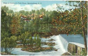 Dam on Lawson's Fork River, Spartanburg, South Carolina, SC, Linen