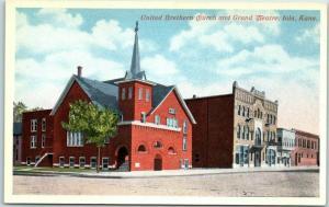 Iola, Kansas Postcard United Brethren Church & Grand Theatre Street View 1920s