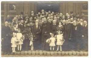 RP  26 April , 1917, Soldiers, priest & people on building steps, SERBIA?
