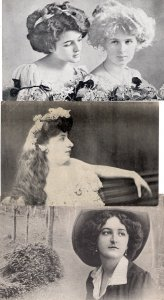 Three Postcards Attractive Women, Ladies With Hats, Foreign