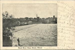Dixon Illinois~Man Stands Near Rock River Dam~Looks @ Mill District c1905 B&W
