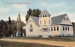 Durant Illinois~Methodist Episcopal Church~Dirt Road~1908 Postcard
