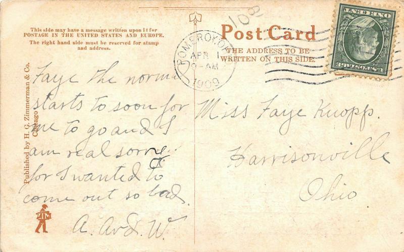 F28/ Pomeroy Ohio Postcard 1909 Front Street Railroad Tracks