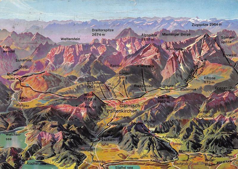 Panorama Werdenfelser Land Obb. Garmisch Partenkirchen Map ... on babenhausen map, cortina d'ampezzo map, magdeburg map, berchtesgaden map, landstuhl map, germany map, weimar map, freiburg map, albertville map, rothenburg ob der tauber map, karlsruhe map, europe map, bonn map, garmisch trail map, saxony map, koblenz map, dortmund map, oberammergau map, oslo map, duisburg map,
