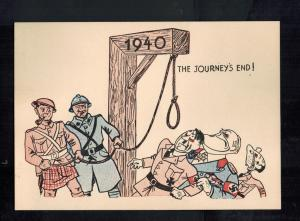 Mint WW2 England Patriotic Postcard End of Journey Hitler at Gallows