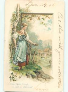 foreign 1905 PRETTY GERMAN GIRL WALKING IN THE FOREST AB8057
