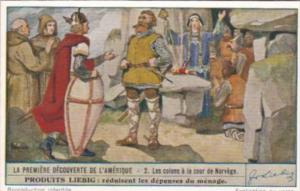 LIebig Trade Card S1483 First Discovery Of America No 2 Les colons a la cour ...