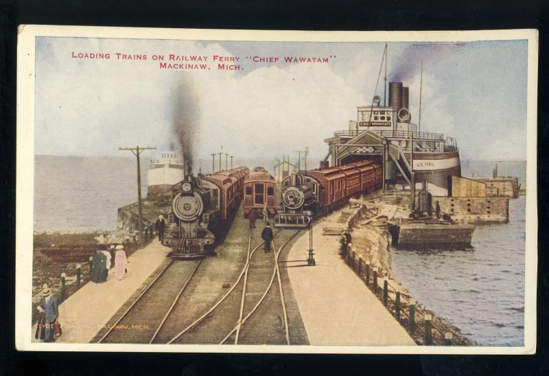 Mackinaw, Michigan/MI Postcard, Loading Trains On Railway Ferry, 'Chief Wawatam'