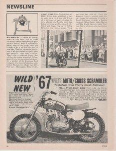 Wild New '67 White Moto/Cross Scrambler 259cc 1966 Motorcycle Print Ad