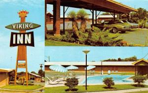 WACO, TX Texas  VIKING INN  Multi w/POOL  McLennan Co  ROADSIDE Chrome Postcard