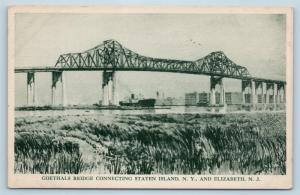 Postcard NJ Elizabeth Goethals Bridge Connecting Staten Island NY Linen H25