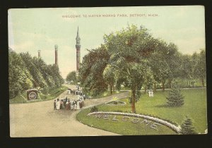 USA Postmarked 1909 Detroit Mich Welcome to Water Works Park Detroit Postcard