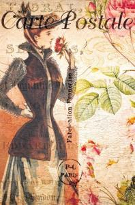 Postcard French Vintage Shabby Chic Style Dress Fashion, Hat, Flowers 59J