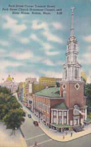 Massachusetts Boston Park Street Corner Tremont Street Park Street Church and...