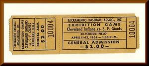 1964 Edmonds Field Ticket, SF Giants/Cleveland Indians,Sacremento,CA, PCL Salons
