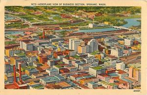 Linen Air view of Business Section of Spokane Washington WA