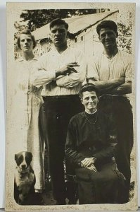 RPPC Susan Lapole & Family posing with Dog c1915 Hagerstown Md Postcard K2