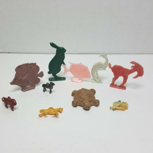 Vintage Collection Miniature Plastic Toys Turtle Rabbit Goat Fish
