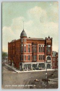 Eldora IA~Opera House Block~Ladies & Gents Line Up on Sidewalk~Horse Wagon~1909