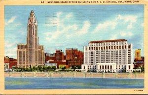 Ohio Columbus New Ohio State Office Building and A I U Citadel 1943 Curteich