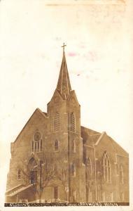 Raymond MN St John's German Lutheran Church Portrait~Corner Steeple 1913 RPPC