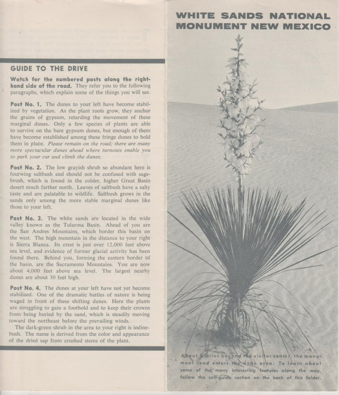 White Sands National Monument, NM  Vintage 1964 Brochure, Geologica Information