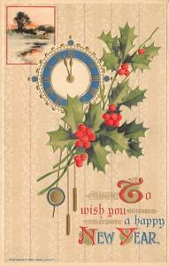 New Year Calligraphy~Blue Gold Midnight Clock~Holly Berry~Emboss~Edw Lowey 1910