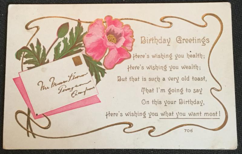 "Postcard Unused writing on back ""Birthday Greetings"" Flower LB"