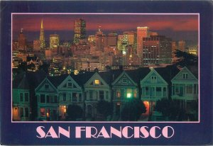 Postcard SUA San Francisco CA Victorian homes Steiner street cityscape panorama