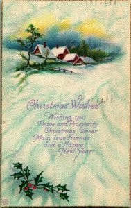 Christmas Wishes Winter Scene Holly Cabin 1921 Vtg Postcard