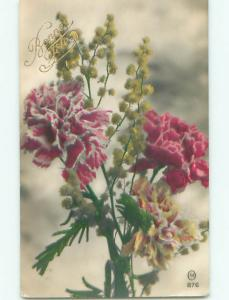tinted rppc c1910 BEAUTIFUL FLOWERS AC9280